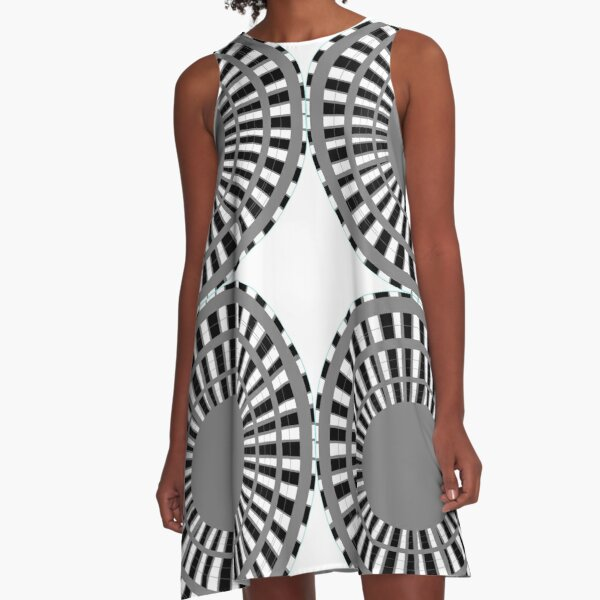#Scrapbook, #design, #pattern, #repetition, abstract, illustration, square, color image, geometric shape, retro style A-Line Dress