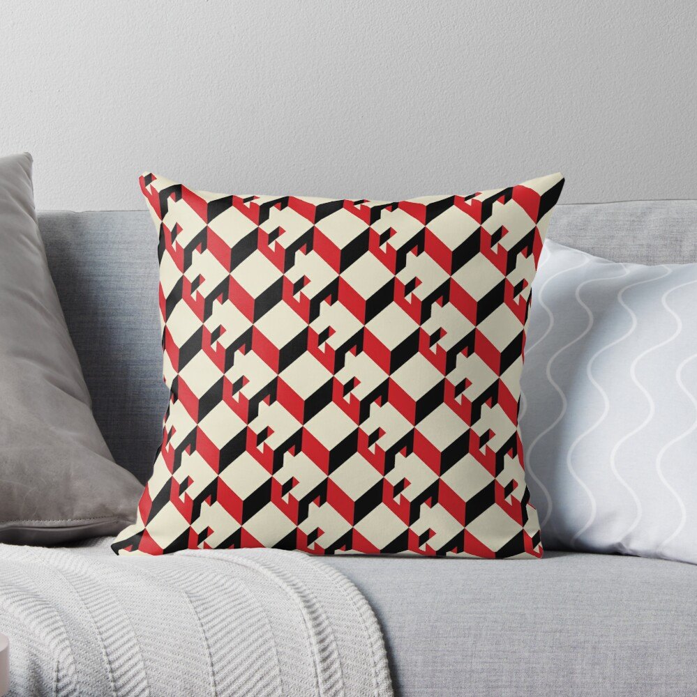 3d Cube Pattern Geometric Design Seamless Throw Pillow By Ohaniki Redbubble