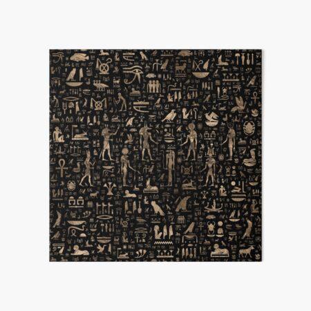 Dioses y jeroglíficos egipcios antiguos - Negro y oro Lámina rígida