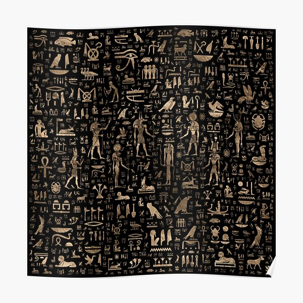 Ancient Egyptian Gods and hieroglyphs - Black and gold  Poster