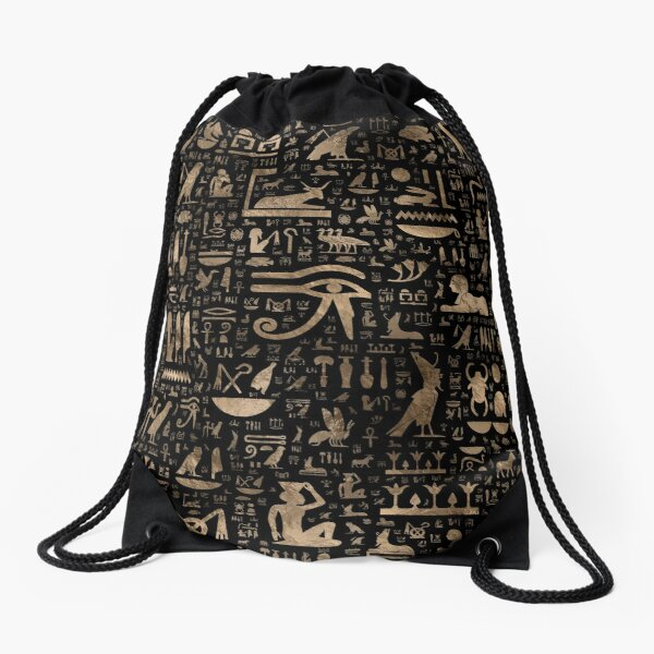 Ancient Egyptian hieroglyphs - Black and gold  Drawstring Bag