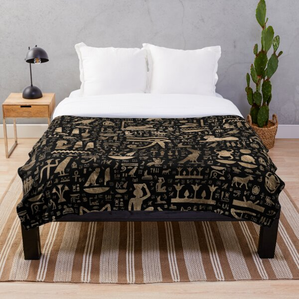 Ancient Egyptian hieroglyphs - Black and gold  Throw Blanket
