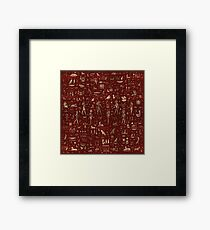 Ancient Egyptian Gods and hieroglyphs - Red Leather and gold  Framed Print