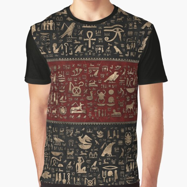 Ancient Egyptian hieroglyphs - Black and Red Leather and gold  Graphic T-Shirt