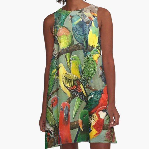Australian Parakeets A-Line Dress