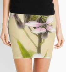 Vintage Flower Photograph on Aged Paper Mini Skirt