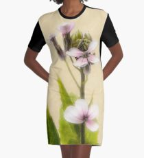 Vintage Flower Photograph on Aged Paper Graphic T-Shirt Dress