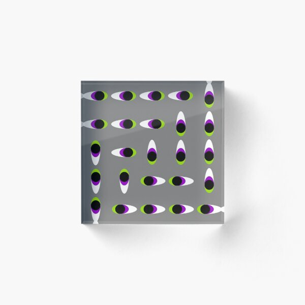 #Repetition, #illustration, #cute, #bright, design, art, fun, vortex, creativity, horizontal, gray, color image Acrylic Block