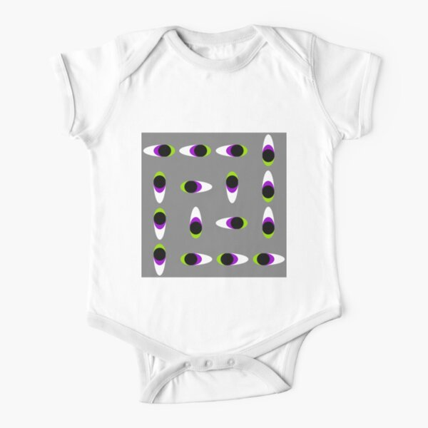 #Repetition, #illustration, #cute, #bright, design, art, fun, vortex, creativity, horizontal, gray, color image Short Sleeve Baby One-Piece