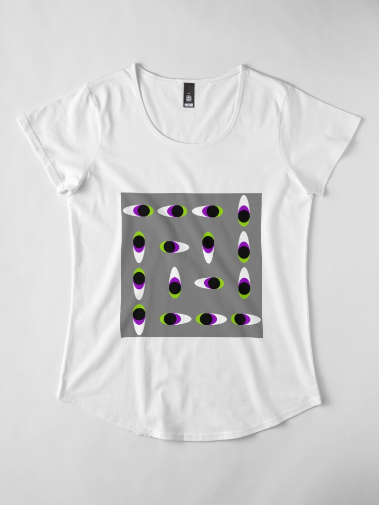 Alternate view of #Repetition, #illustration, #cute, #bright, design, art, fun, vortex, creativity, horizontal, gray, color image Premium Scoop T-Shirt