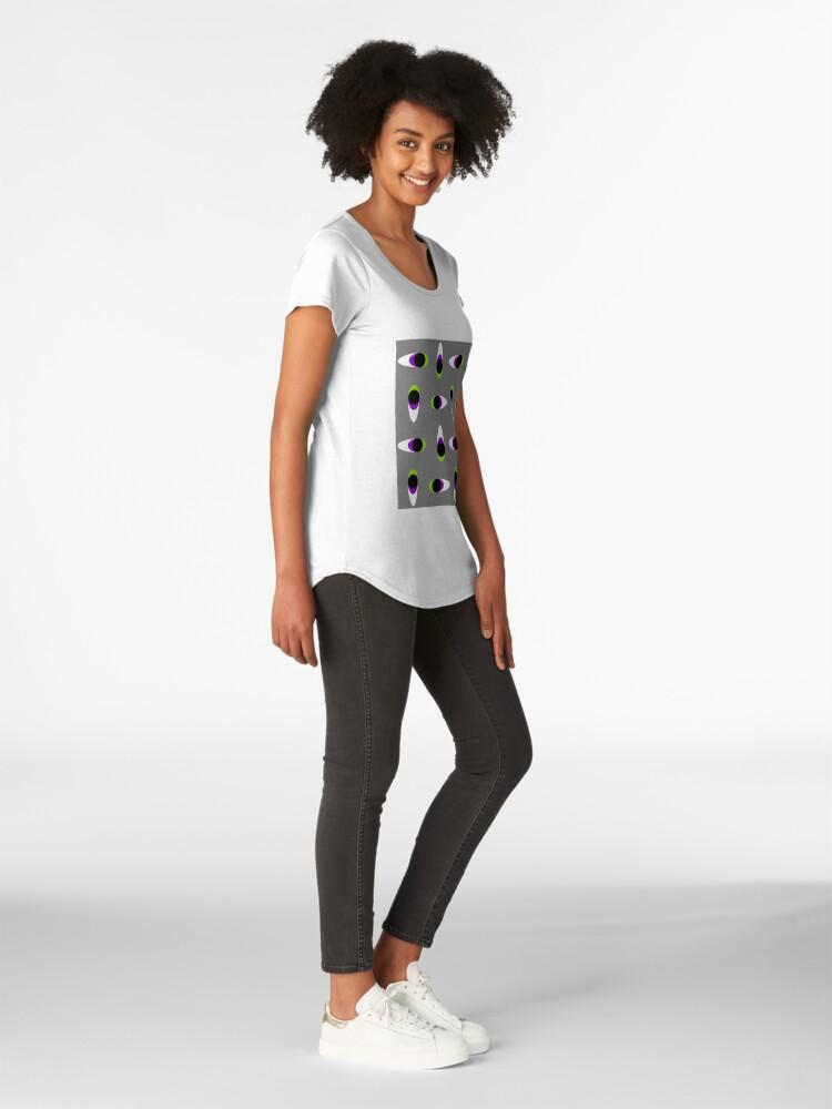 Alternate view of #Repetition, #illustration, #cute, #bright, design, art, fun, vortex, creativity, horizontal, gray, color image Premium Scoop T-Shirt