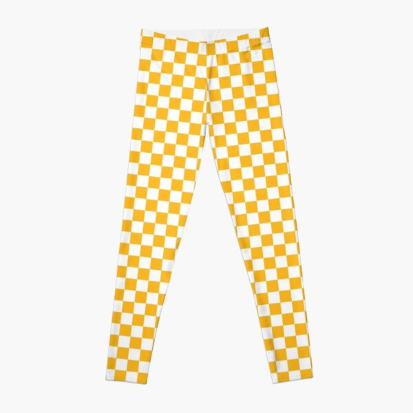 Green Bay Football Team Yellow and White Checker Board Leggings