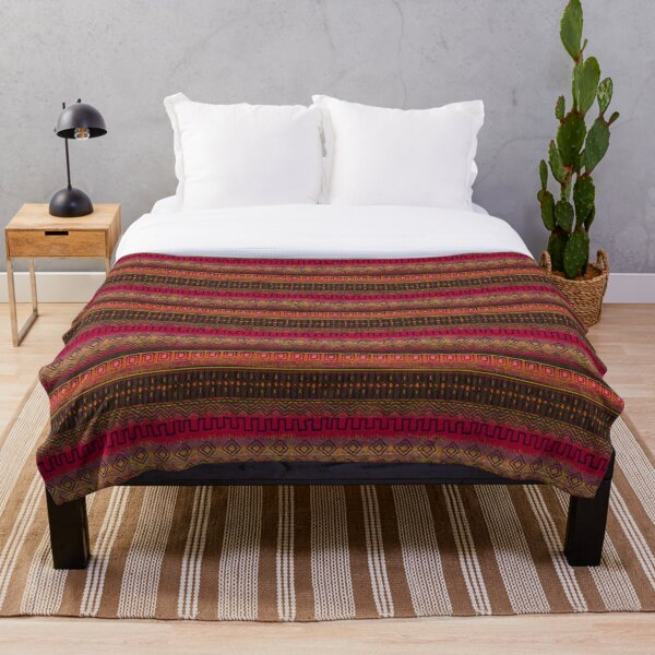 Earthy African Ombre Mud Cloth Throw Blanket