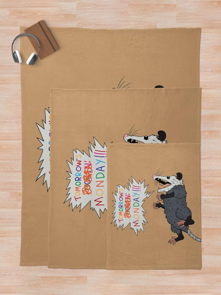 Alternate view of Pessimist Opossum Throw Blanket