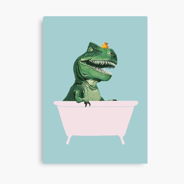 Playful T-Rex in Bathtub in Green Canvas Print