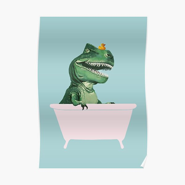 Playful T-Rex in Bathtub in Green Poster