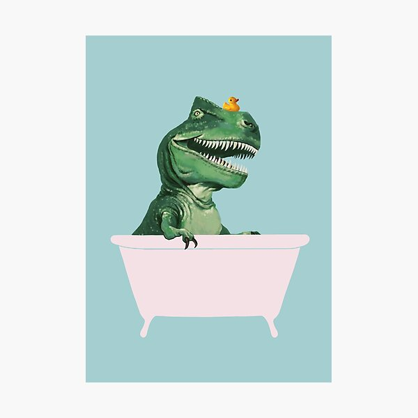 Playful T-Rex in Bathtub in Green Photographic Print