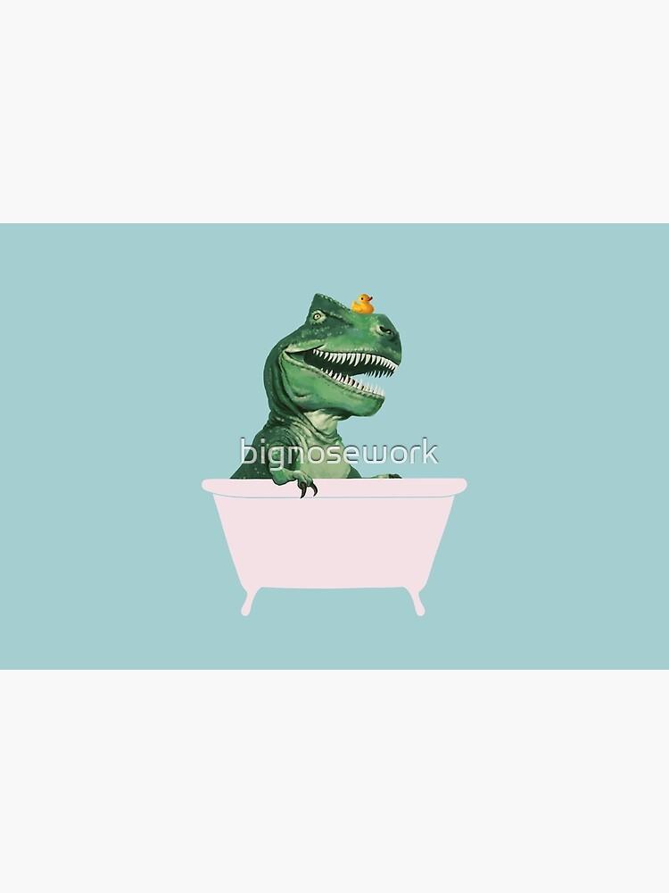 Playful T-Rex in Bathtub in Green by bignosework