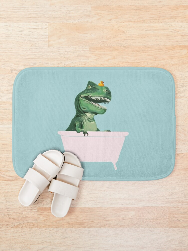 Alternate view of Playful T-Rex in Bathtub in Green Bath Mat