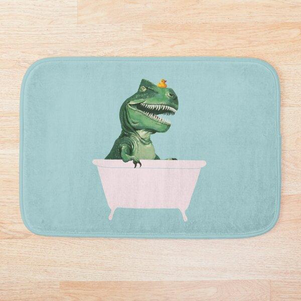 Playful T-Rex in Bathtub in Green Bath Mat