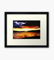 Sunset Over Carron Valley Reservoir. Framed Print