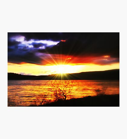 Sunset Over Carron Valley Reservoir. Photographic Print