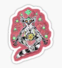 Netter magischer lustiger meditierender Maki im Raum Sticker