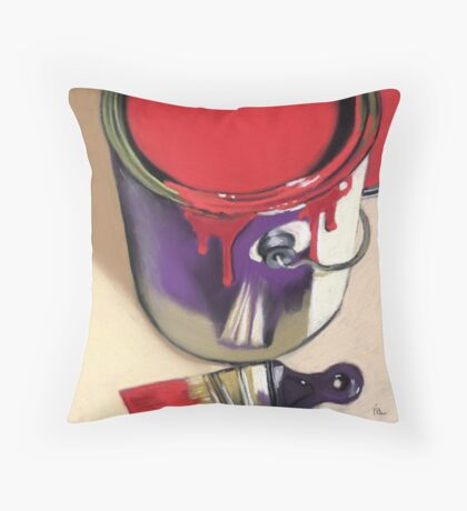 red paint can Throw Pillow