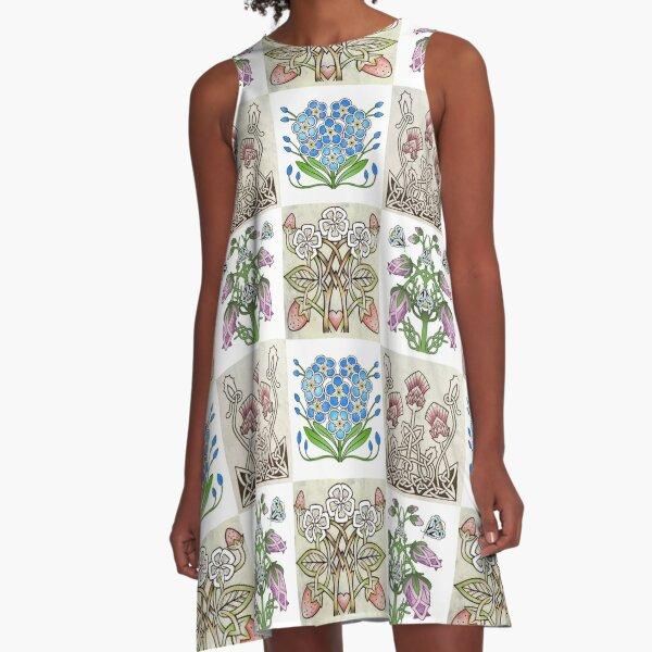 4 Celtic Flowers A-Line Dress