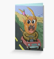 Crazy Traffic Monsters Greeting Card