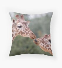 Pucker Up! (Giraffes) Throw Pillow