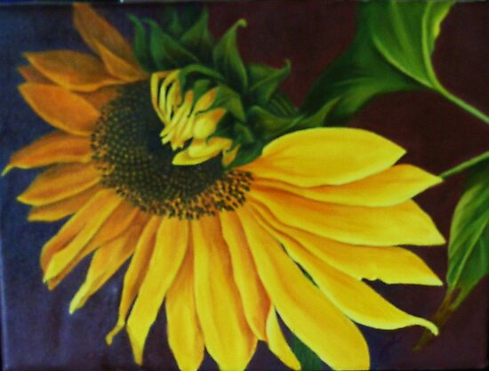 """Sunflower, Turning"" Oil on Canvas by Jean LeBaron"