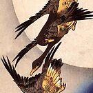 Wildgans Flug vor dem Mond 2 von Utagawa Hiroshige (Reproduktion) von RozAbellera