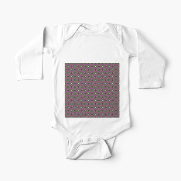 #Scrapbook, #design, #pattern, #repetition, abstract, illustration, square, color image, geometric shape, retro style Long Sleeve Baby One-Piece