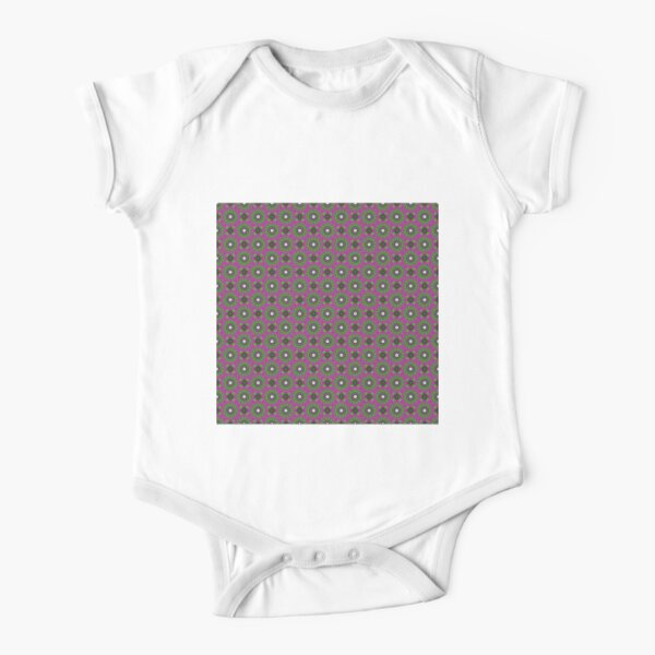 #Scrapbook, #design, #pattern, #repetition, abstract, illustration, square, color image, geometric shape, retro style Short Sleeve Baby One-Piece