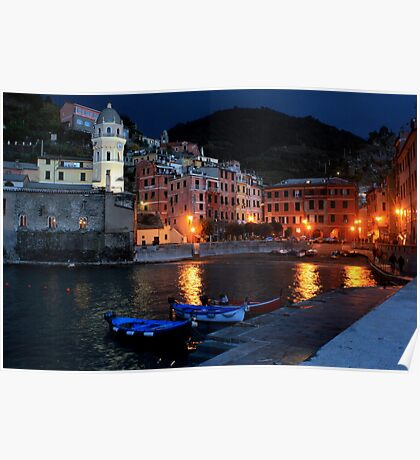 The harbor of Vernazza by night  Poster