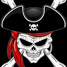 Pirate Skull with Crossed Bones and Red Bandana by BluedarkArt