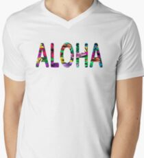 Aloha Hawaiian Greeting Flowers Love Affection Peace V-Neck T-Shirt