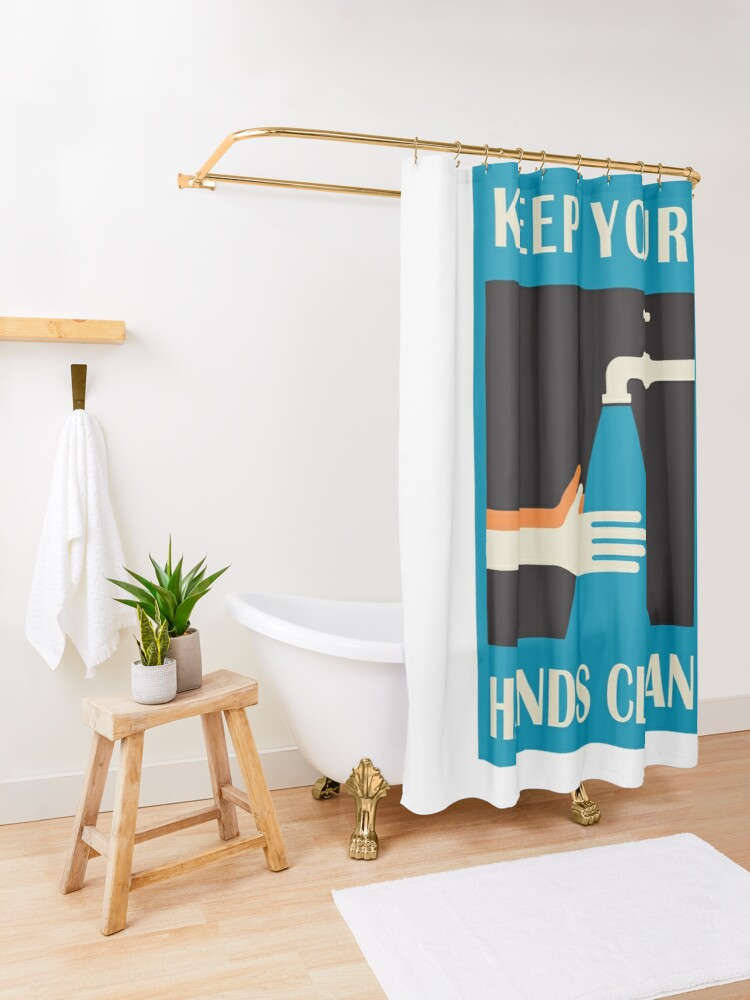 Alternate view of keep your hands clean  Shower Curtain