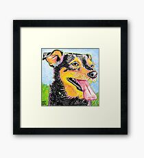 Pop Art Dog and Grass Ink Painting in Intense Colors and Patterns Framed Print