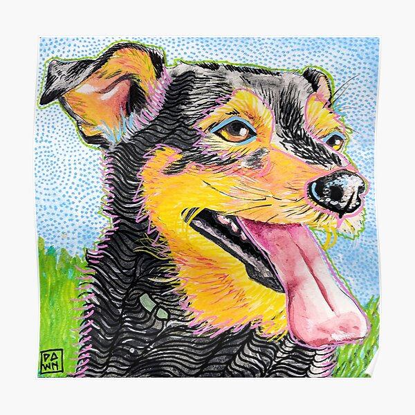 Pop Art Dog and Grass Ink Painting in Intense Colors and Patterns Poster