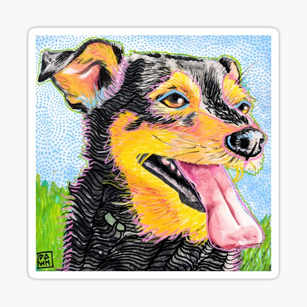 Pop Art Dog and Grass Ink Painting in Intense Colors and Patterns Sticker