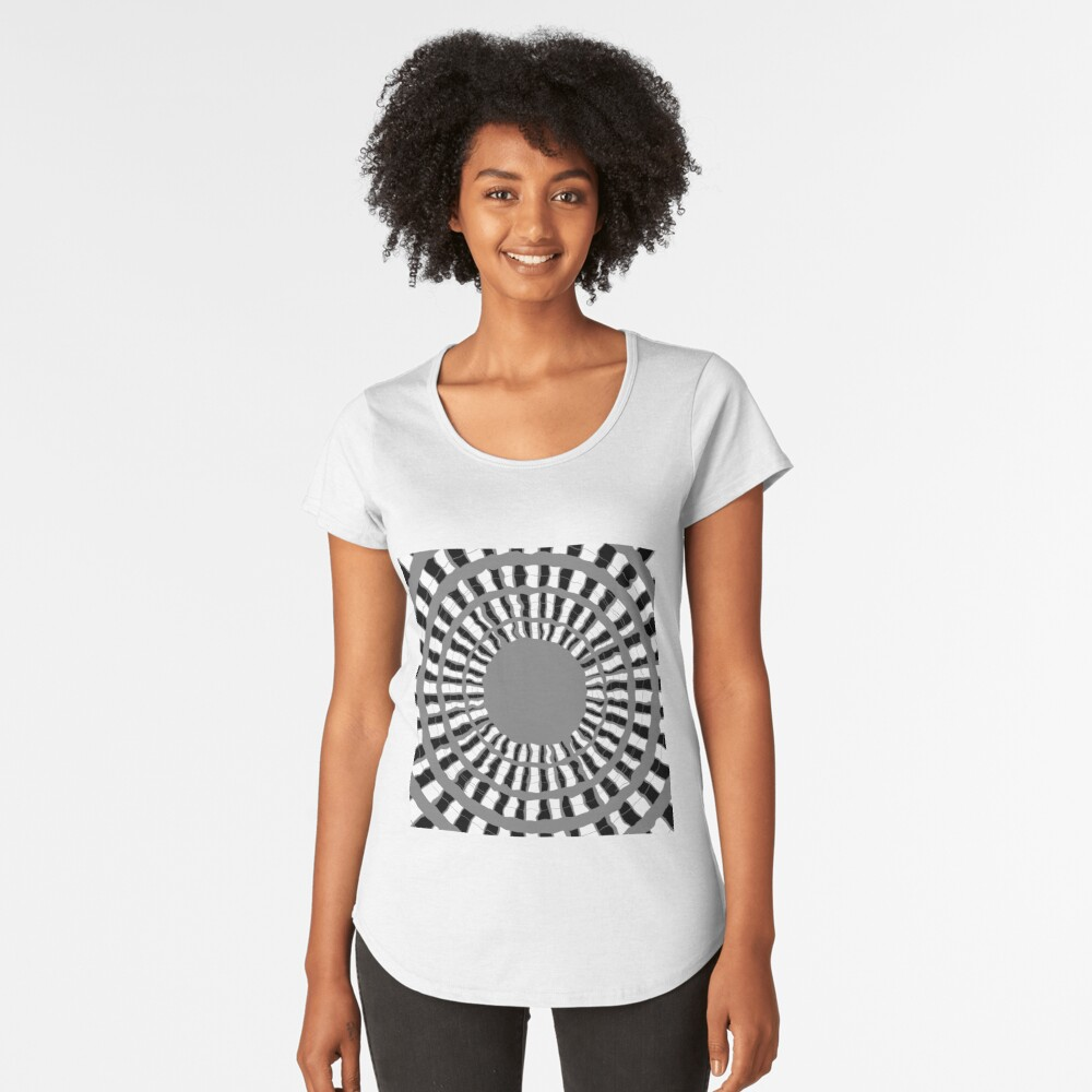 Optical illusion, #pattern, #abstract, #art, #design, shape, spiral, curve, decoration, futuristic, psychedelic Premium Scoop T-Shirt