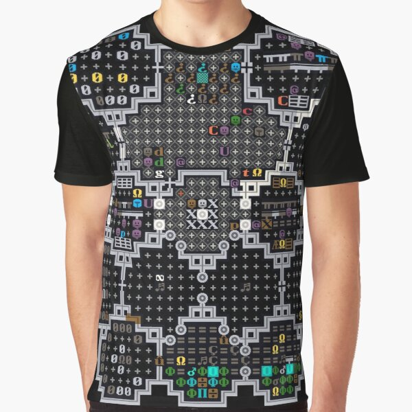 Dwarf Fortress library with FnordSet tiles Graphic T-Shirt