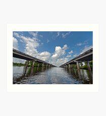 Interstate Ten over the Atchafalaya Basin  Art Print
