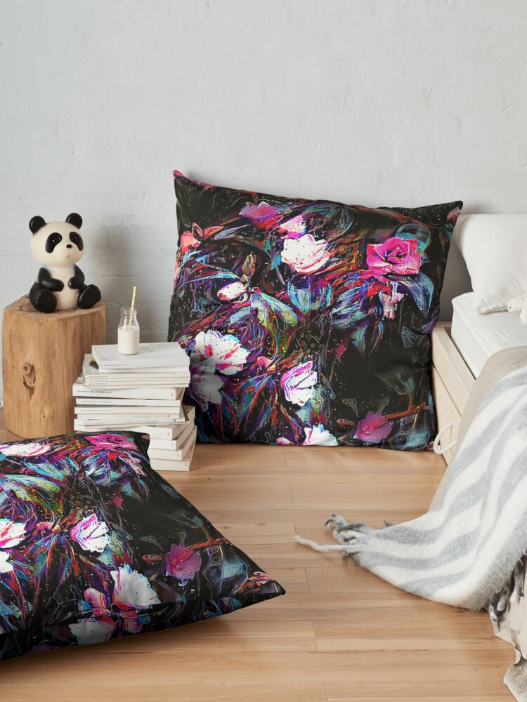 Alternate view of Roses of a Cyberdelic Night Floor Pillow