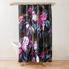 Roses of a Cyberdelic Night Shower Curtain