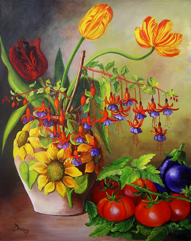 Tulips in a Vase with some Tomatoes by Dominica Alcantara