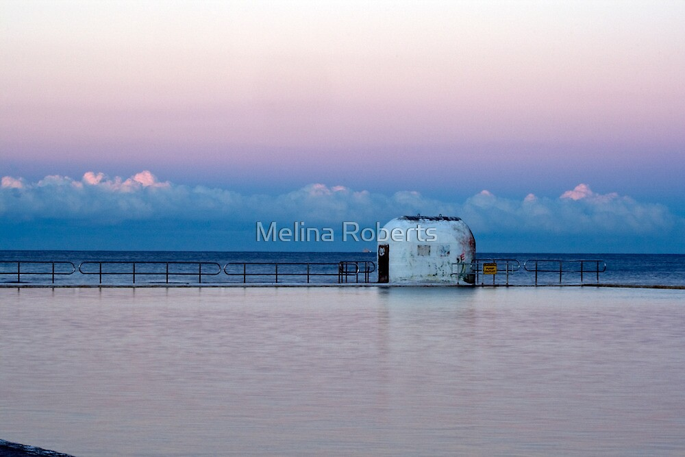 Sunset over Merewether Baths by Melina Roberts