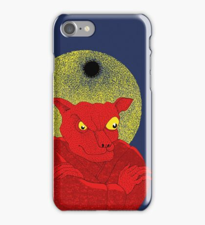 Red Cat Demon up to no good under a bad moon iPhone Case/Skin